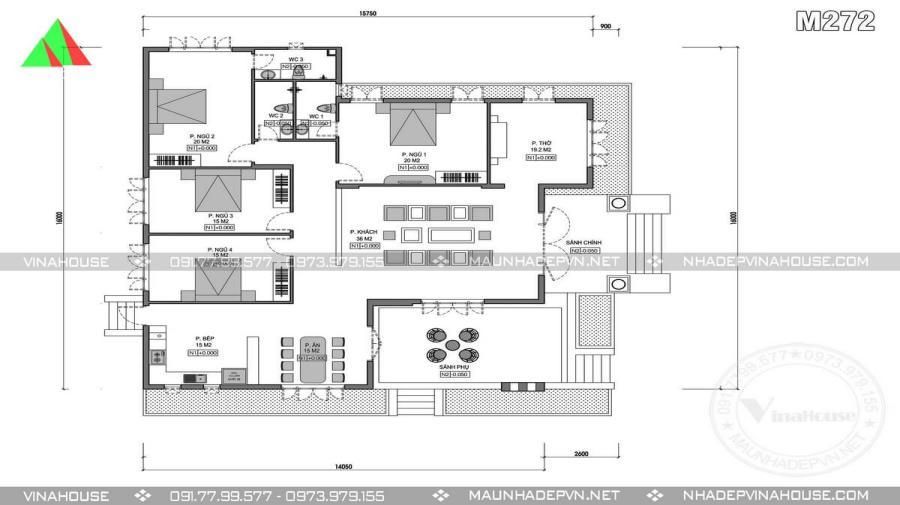 Mặt bằng thiết kế nhà cấp 4 chữ L 4 phòng ngủ 1 phòng thờ