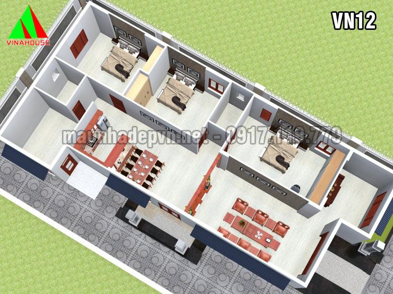mặt bằng Mặt bên Mẫu nhà cấp 4 mái thái 3 phòng ngủ 7x20